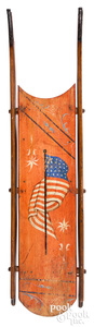 Painted sled, decorated with the American flag