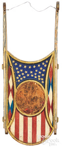 Painted Jennie sled, with patriotic motifs