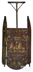 Painted sled, decorated with The Wild Irishman