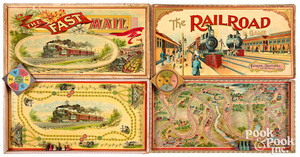 Two early railroad board games, late 19th c.
