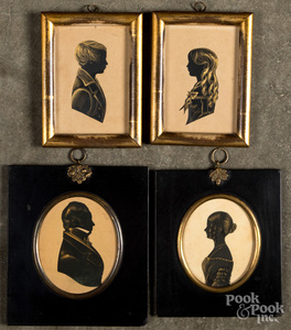 Two pairs of watercolor silhouettes, 19th c.