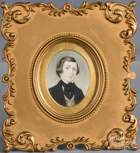 Miniature watercolor portrait of a young man