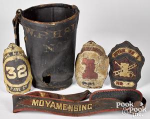 Group of early firemen memorabilia