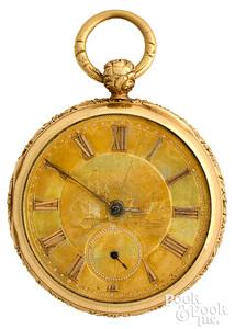 18K gold key wind pocket watch marked W.W. & Co.