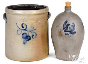 Stoneware crock and jug, 19th c.