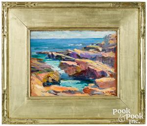 Edward Henry Potthast oil on board coastal scene