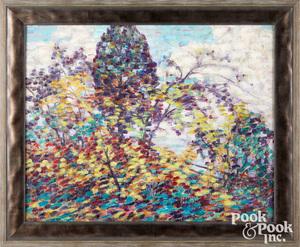 Maude Drein Bryant oil on canvas of Dahlias
