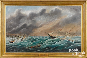 Xanthus Russell Smith oil on canvas Sea Storm