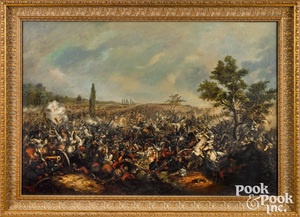 Large oil on canvas battle scene