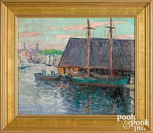 Frederick Wagner oil on canvas harbor scene
