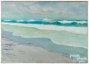 Dwight Blaney oil on canvas coastal scene
