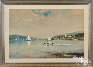 Edmund Darch Lewis watercolor lake scene