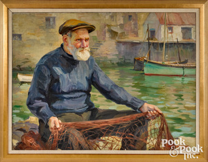 Isabel Cartwright oil on canvas of fisherman