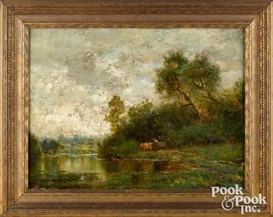 Arthur Parton oil on canvas bucolic landscape