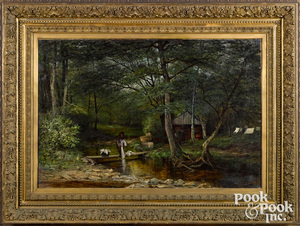 Alfred Bryan Wall oil on canvas wooded landscape