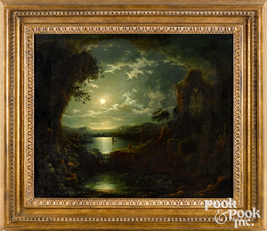 Attributed to Henry Pether moonlit landscape