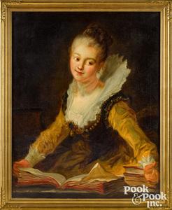 After Jean Honore Fragonard oil on canvas portrait