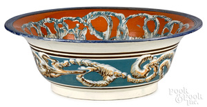 Large mocha bowl, with earthworm decoration