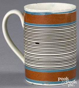 Mocha mug, with thin brown bands