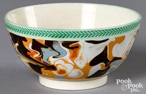 Mocha waste bowl, with marbleized glaze