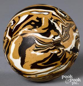 Mocha carpet ball, with marbleized glaze