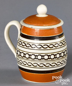 Mocha mustard pot, with brown geometric bands