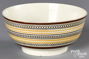 Mocha bowl, with geometric and yellow bands