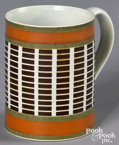 Mocha mug, with brown rectangular bands