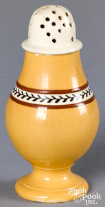 Mocha pepperpot, with yellow glaze and twig band