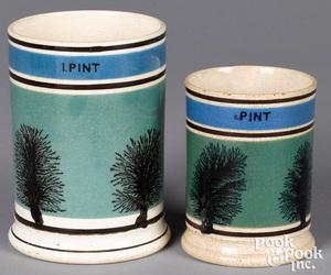 Two mocha mugs, with seaweed decoration