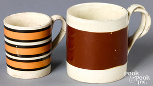 Two mocha mugs, with brown and tan bands