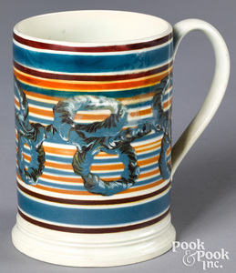 Mocha mug, with earthworm decoration