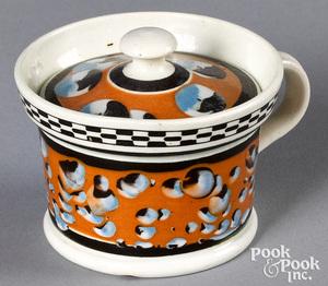 Mocha mustard pot, with cat's-eye decoration
