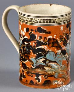Mocha mug, with marbleized and splotch decoration