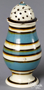 Mocha pepperpot, with blue, white, and brown bands