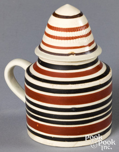 Mocha lidded pot, with brown and tan bands