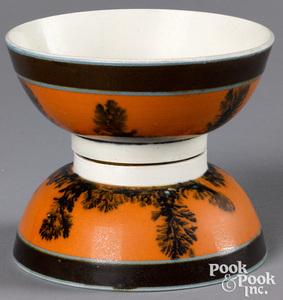 Two similar conjoined mocha bowls
