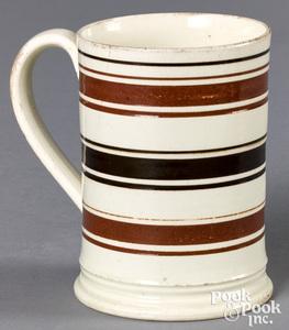 Mocha mug, with brown and tan bands