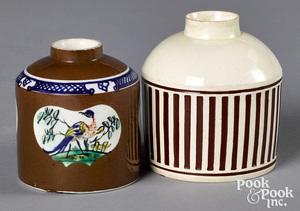 Two mocha tea caddies