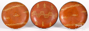 Three Pennsylvania redware plates, 19th c.