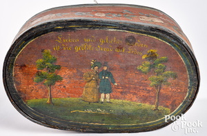 Continental painted bentwood brides box