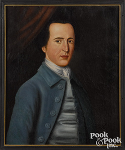 Attributed to John Durand oil on leather portrait