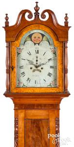 Federal cherry and mahogany tall case clock