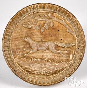 Rare carved maple running fox butterprint