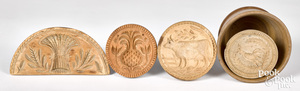 Four carved butterprints, 19th c.