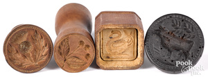 Four small carved maple butterprints, 19th c.