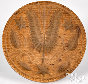 Very large carved maple decorated butterprint