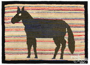 American hooked rug with horse, early 20th c.