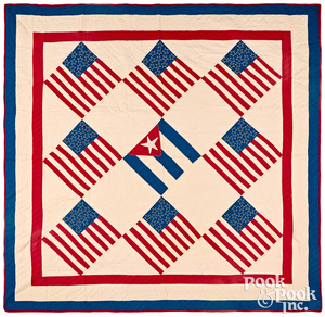 Patriotic US flag quilt, early/mid 20th c.