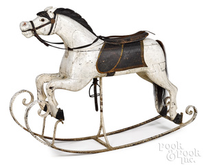 Carved and painted rocking carousel horse, ca. 1900
